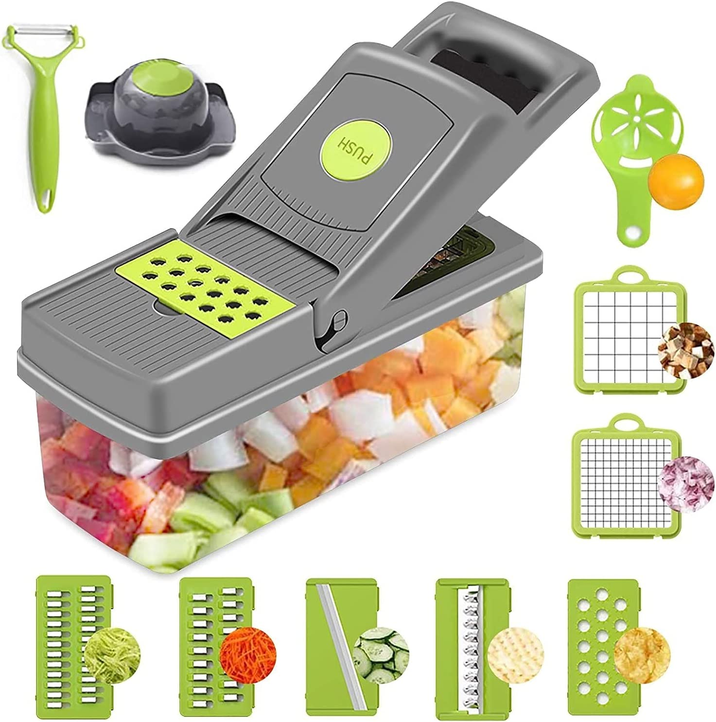AmtBety 15 in 1 Vegetable Chopper Onion Chopper Dicer,10 Blade Vegetable Cutter Spiralizer Slicer Egg Potato Salad Fruit Apple Carrot Choppers Separator Mandoline with Container and glove