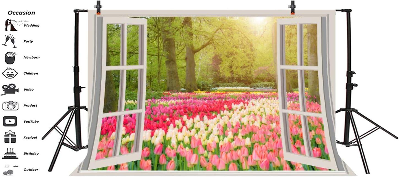 5x5FT Vinyl Photography Backdrop,Love,Frame of Fresh Tulips Photoshoot Props Photo Background Studio Prop