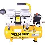 WELDINGER Flüsterkompressor FK 60 Ansaugleistung 60 l/ min 9 Liter Tank; 550 W Druckluftkompressor; hochwertiges, ölfreies Aggregat (Kompressor; wartungsfrei)