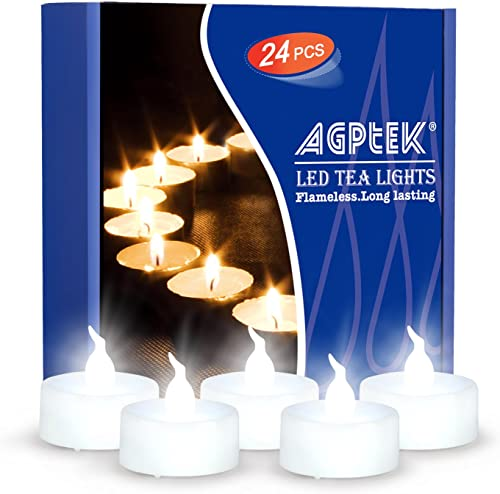 AGPtEK Timer Flickering Flameless LED Candles Battery-Operated Tealights for Wedding Holiday Party Home Decoration 24pcs Cool White