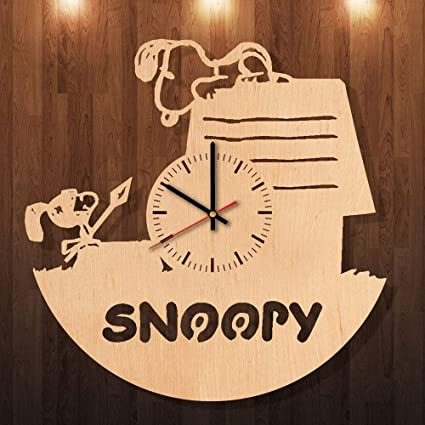 d197c3832 Image Unavailable. Image not available for. Color  Snoopy Knight Decor  Handmade Wood Wall Clock - Modern ...