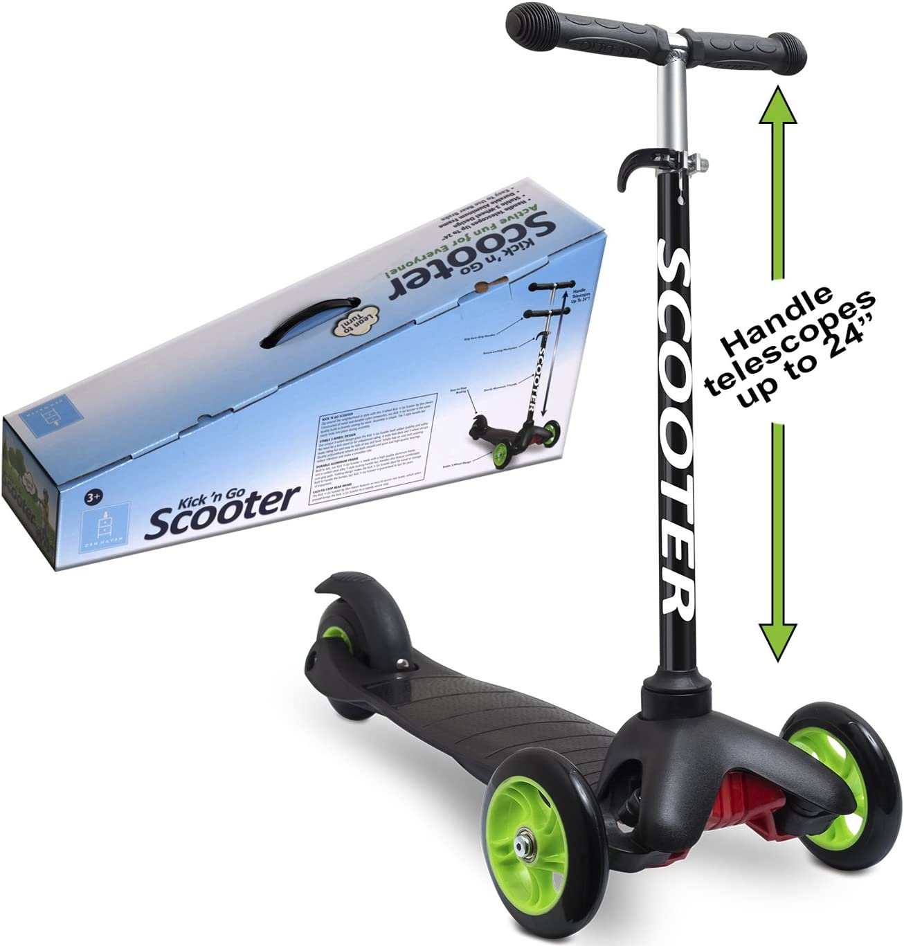 Scooters for Kids Toddler Scooter - Deluxe Aluminum 3 Wheel Glider w/Kick n Go, Lean 2 Turn Wheels, Step 4 Brake, Toddlers Training Three Wheeled Kid ...