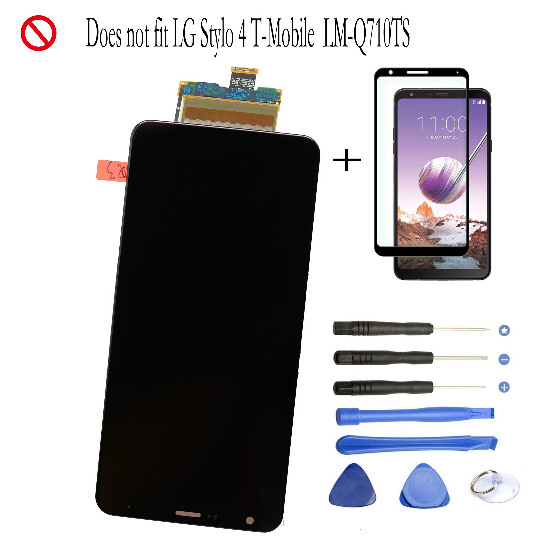 Eaglewireless Replacement Full LCD Screen Assembly with Touch Screen Digitizer and LCD Pre-Installed for LG Stylo 4 / Q Stylus Q710 Q710MS Q710AL Q710US 6.2''+Free Tempered Glass Protector by Eaglewireless