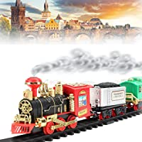 Funny Teddy Train Set for Kids - Classic Train Set Track Lights and Sounds - Battery Operated - Birthday Gift for Boys Girls