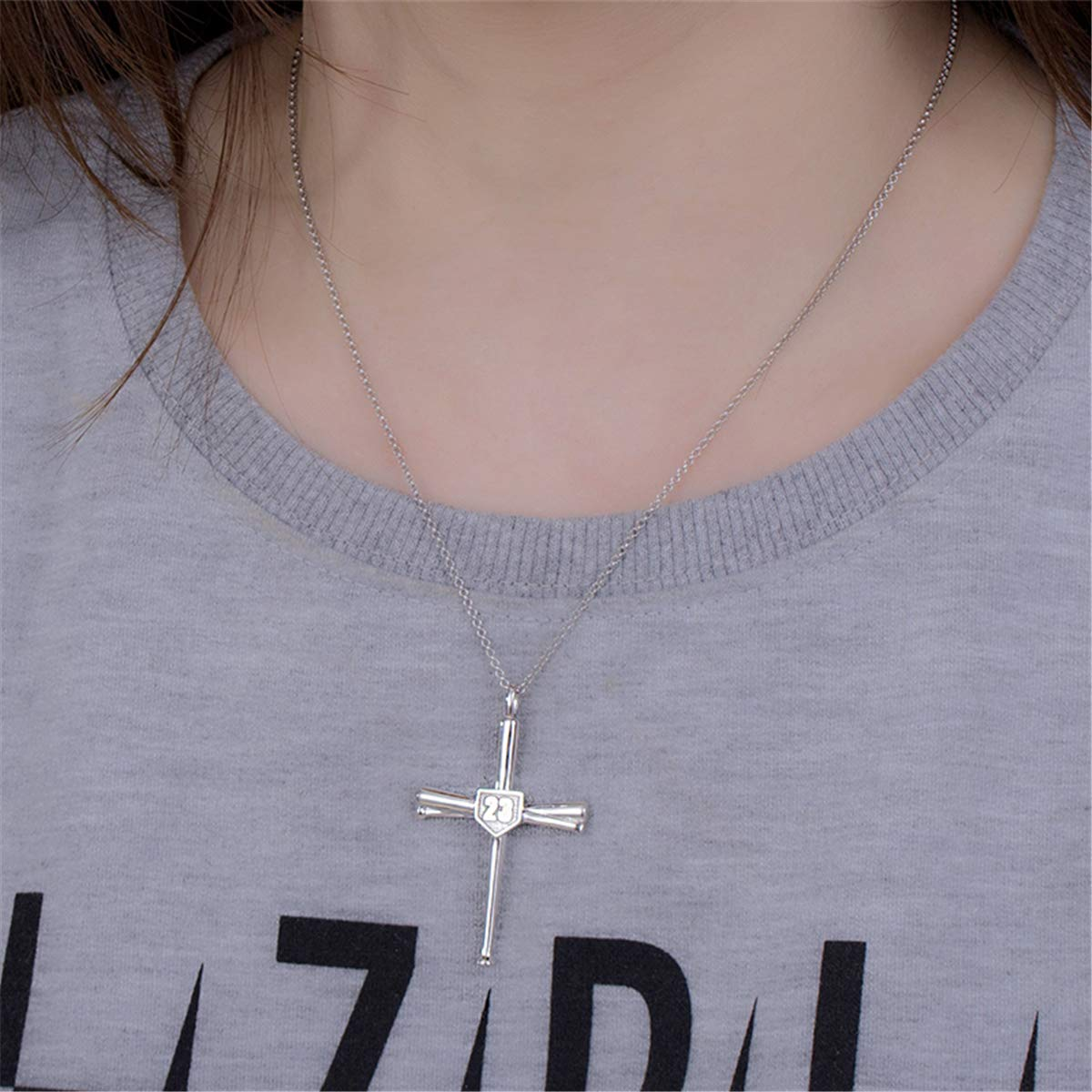 AILIN Cross Necklace Baseball Bats Athletes Cross Pendant Sports Number Or Initial Necklaces Gifts for Men Women Teen Boys Girls