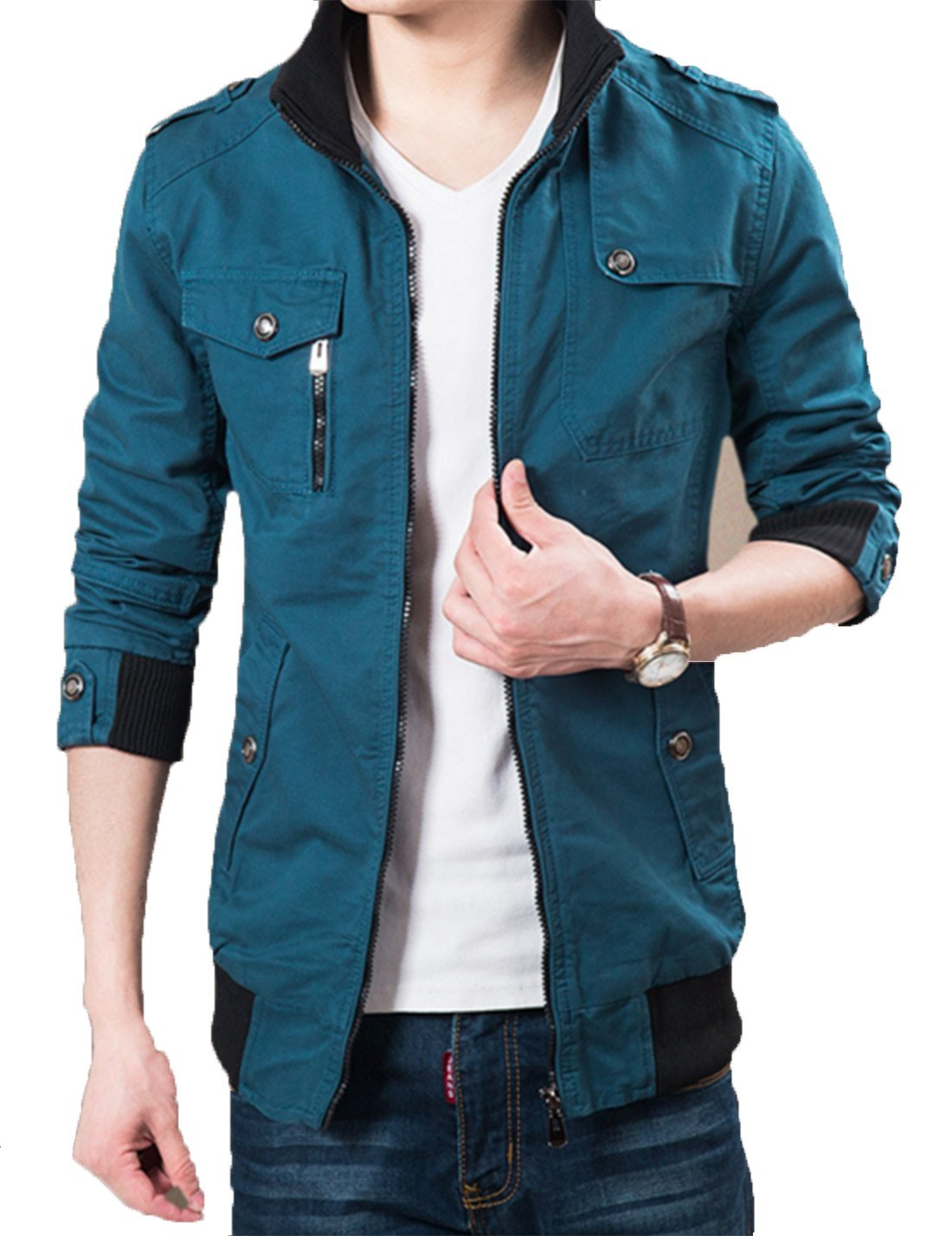 XueYin Men's Solid Cotton Casual Wear Stand Collar Jacket?Blue,L Size