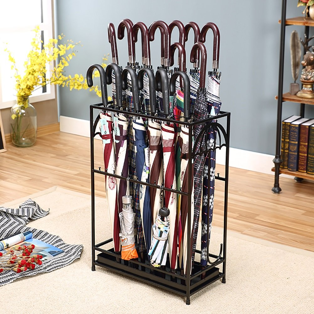 DNSJB Hotel Lobby Iron Umbrella Stand with Hooks/Drip Tray European Household Canes/Walking Stick Stand Storage Holder Rack Personality Creative Long/Short Umbrella Stands Storage Shelf,502570cm