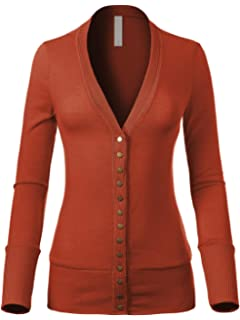 Design by Olivia Women's Soft Basic V Neck Snap Button Down Knit Cardigan