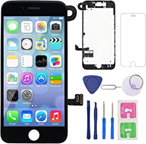 Screen Replacement for iPhone 7 Black, Fully Pre-Assembled LCD Display and Touch Screen Digitizer Replacement with Proximity Sensor, Earspeaker and Front Camera, Repair Tools and Screen Protector