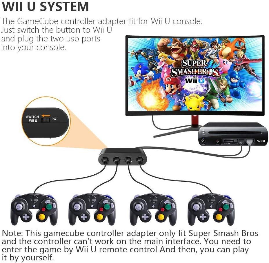 Cloudream Adaptador de controlador de gamecube Super Smash Bros Wii U Gamecube Adaptador para Pc, Switch. No necesita controlador y fácil de usar. Adaptador para gamecube de 4 puertos, color negro (versión