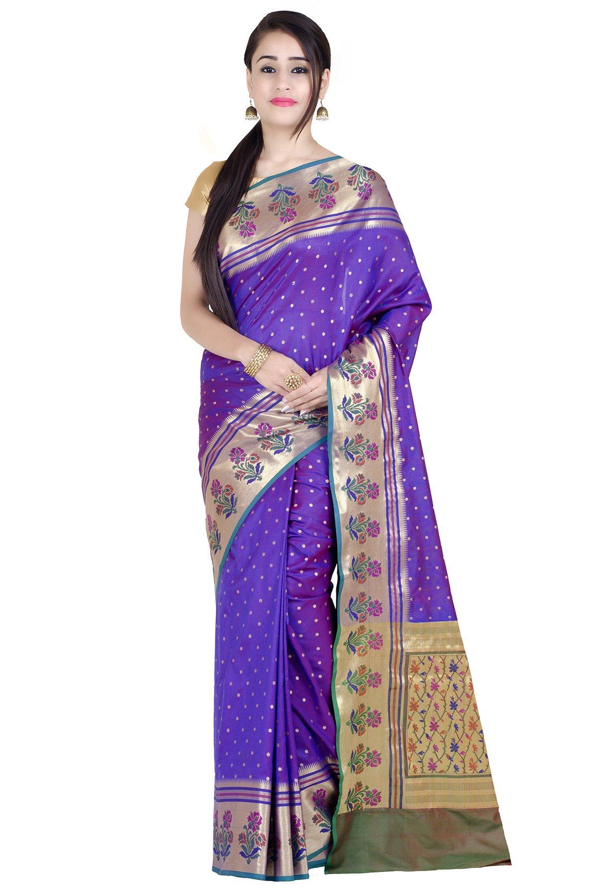 Chandrakala Women's Purple Kataan Silk Blend Banarasi Saree(1285PUR)