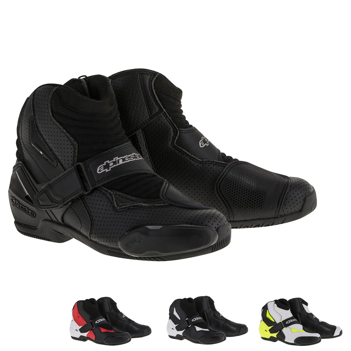 Alpinestars SMX-1R Vented Men's Street Motorcycle Shoes - Black/White/Red / 48 by Alpinestars