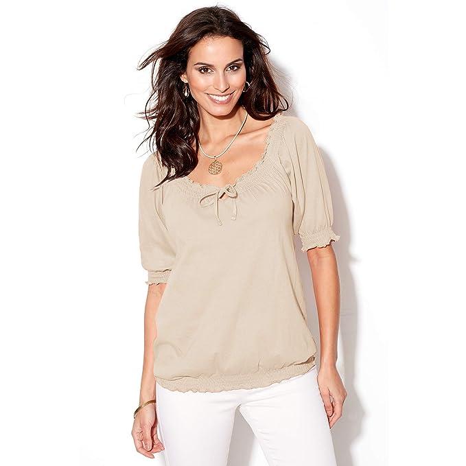 090d2ea0fbe Camiseta Manga 3 4 con Acabados elásticos Mujer by Vencastyle - 112158