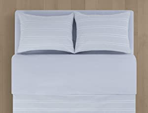Calvin Klein Home Seersucker Stripe Comforter Set, Full/Queen, Artic ice