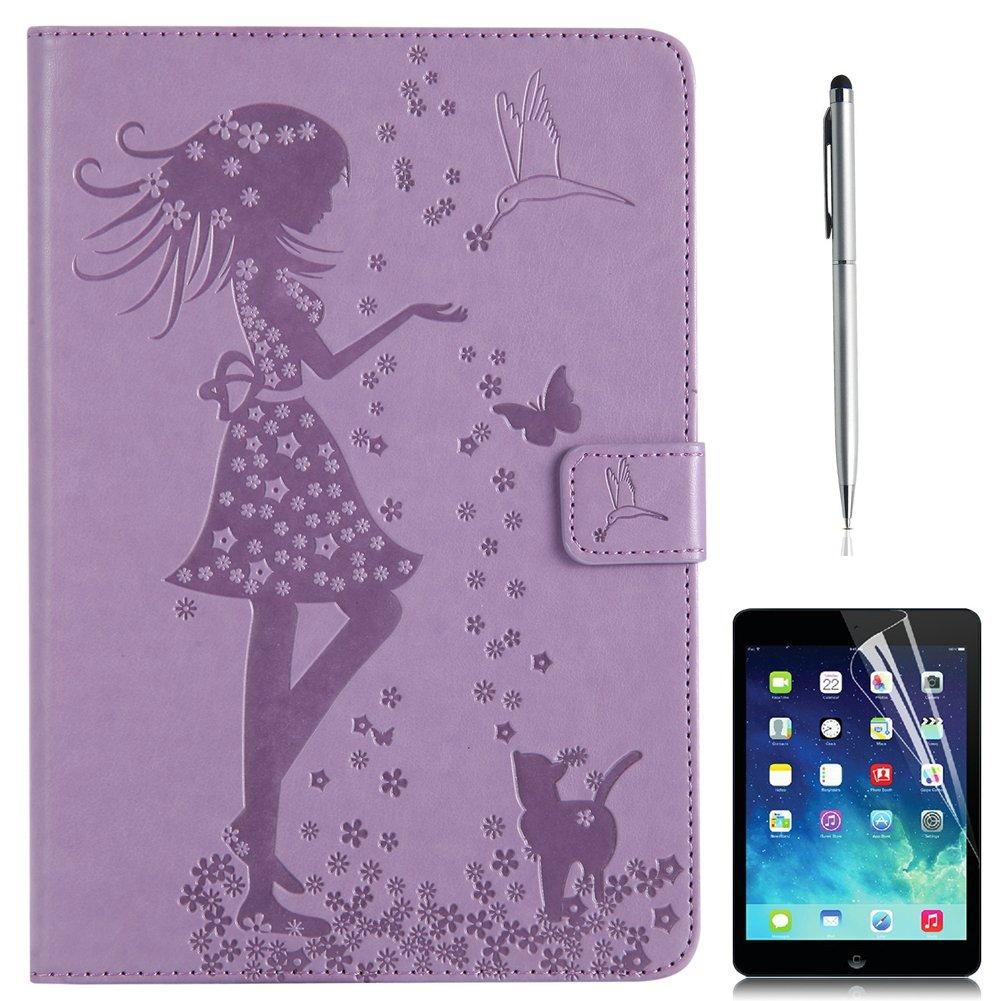 iPad Airケース、gift-hero ( TM )エンボス猫パターンレザースタンドフォリオiPad 5ケーススリーブ財布カードホルダー自動ウェイク/スリープ機能スマートカバーfor Apple iPad Air 9.7 Inch B071GQL8KW ラベンダー ラベンダー