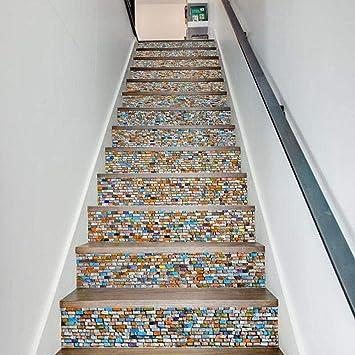 Hndrkj Pegatinas Escalera Pegatina De Escaleras Creativas Piedras De Colores Oficina En El Hogar Hotel Personalidad Escalera Decoración Pegatina-100X18Cmx6: Amazon.es: Bricolaje y herramientas