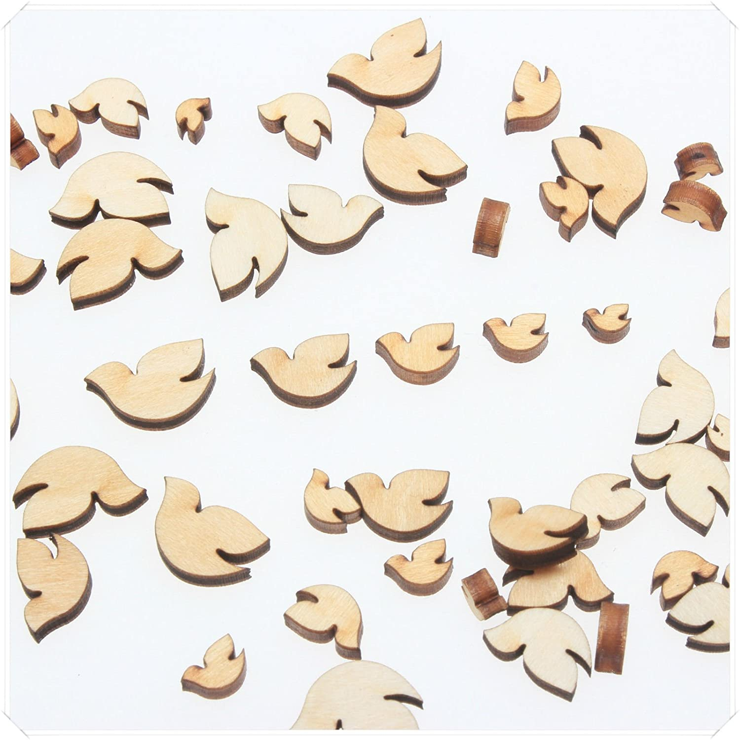 yuhoshop: 100 pcs [Dove Shaped] Mini Mixed Small Tiny Wooden Embellishments - Scrapbooking Shapes for Craft Decor Button