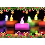 Homemory Colorful Christmas Tea Lights, Flameless Flickering LED Tealights, Pack of 12, 7 Colors Flashing Cycle Candles Light for Christmas Decoration, Party, Festival Celebration
