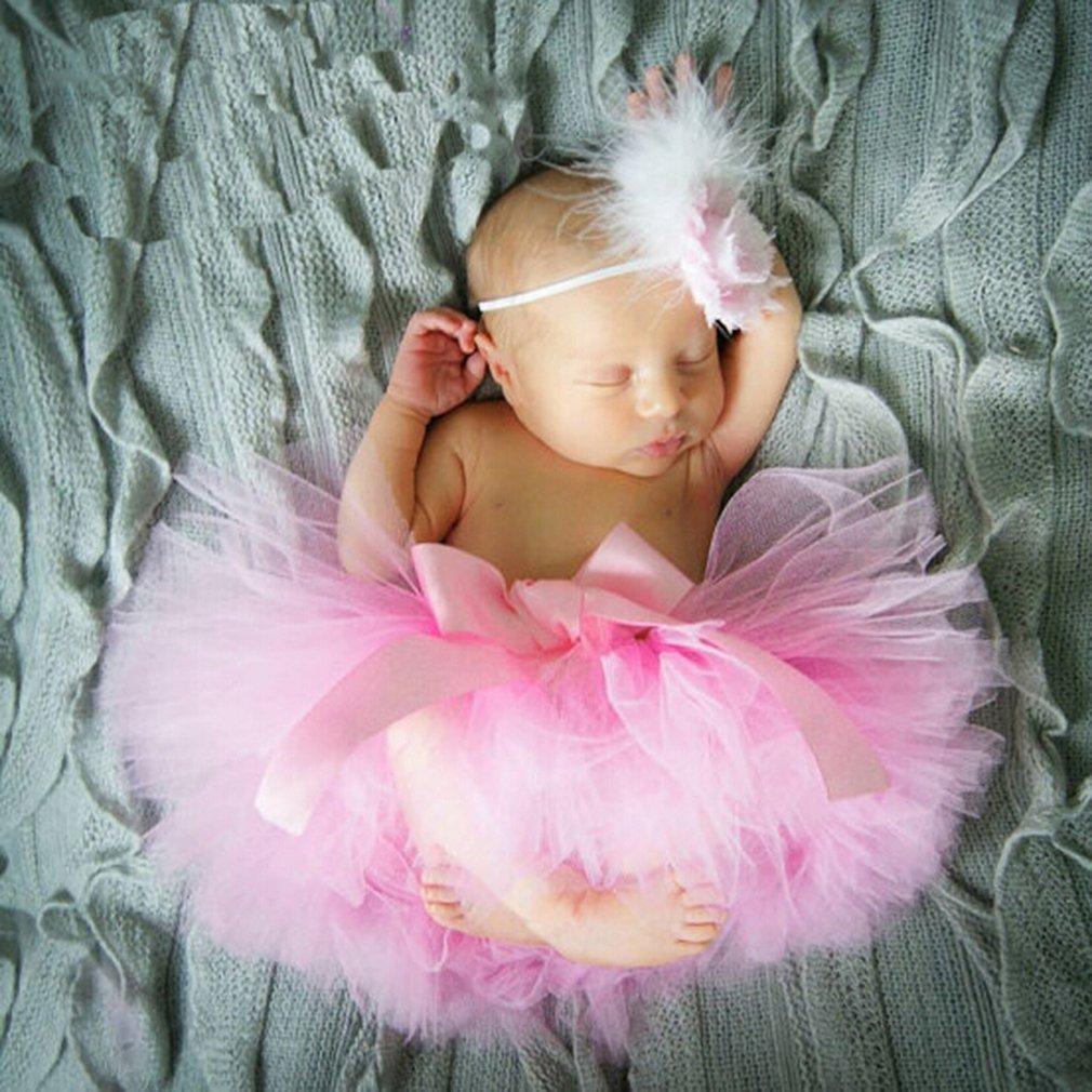 Wei/ß Butterem Neugeborene Baby S/äugling Fotografie St/ütze Kost/üm Outfits Tutu Rock Outfits Blume Stirnband Set