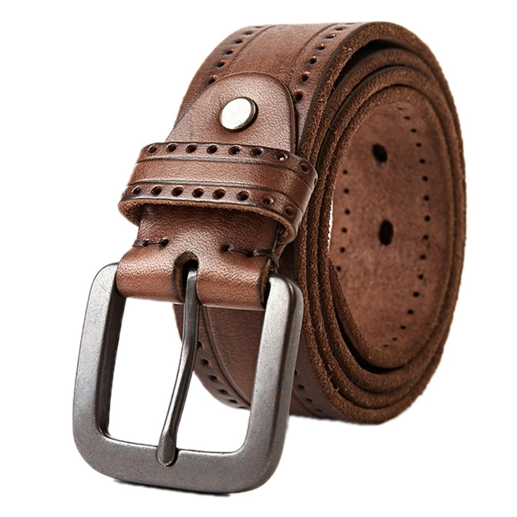 IJKXLK Top Layer Leather Cowhide Belt Technology Men Belt Imported Alloy Buckle Strap Wide coffee 105cm