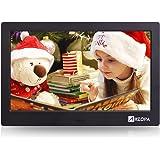 Arzopa 10 Zoll HD IPS Widescreen Digitaler Bilderrahmen Hoch Auflosender 16:9 Fotorahmen Player MP3 MP4 Video Wiedergabe Wecker Kalender mit Fernbedienung (Upgrade)