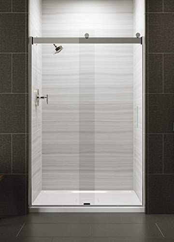KOHLER K-706008-L-SH Levity Shower Door, 74.00 x 3.06 x 47.63 inches, Crystal Clear glass with Bright Silver frame