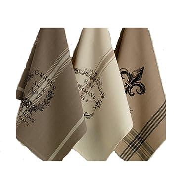 DII Design Imports Kitchen Towel Hanging Loop Set of 3 French Grain Sack Fleur De Lis Cologne Printed Dishtowels . 18 X 28 . 100% Cotton. Machine Wash