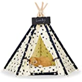 Pet Teepee Dog & Cat Bed - Dog Tents & Pet Houses With Cushion & Blackboard ,Stars pattern