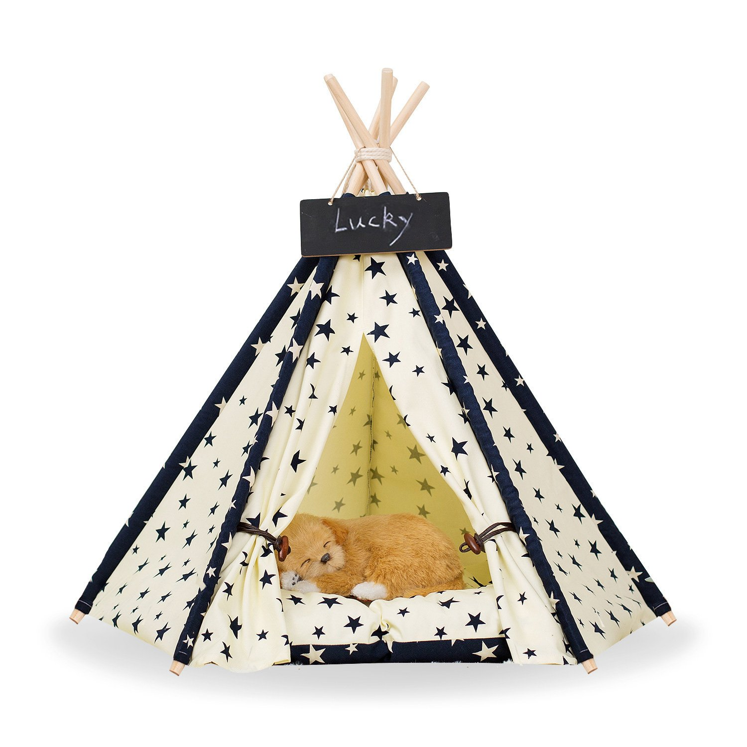 Zaihe Pet Teepee Dog & Cat Bed - Portable Dog Tents & Pet Houses with Cushion & Blackboard, 24 Inch, Up to 15lbs, Stars Pattern by Zaihe