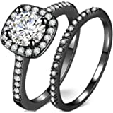 Silver Rose Gold 1.5 Carat Wedding Engagement Eternity Bridal Ring Set
