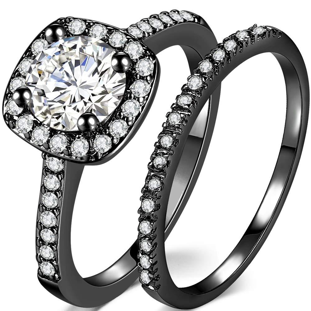 Jude Jewelers Silver Rose Gold 1.5 Carat Wedding Engagement Eternity Bridal Ring Set
