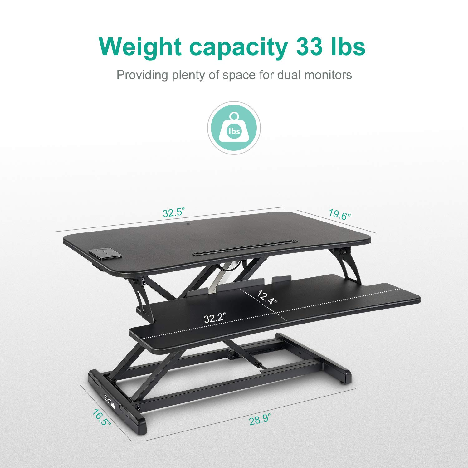 EleTab Electric Height Adjustable Standing Desk Converter Sit to Stand up Power Riser 33 Black Tabletop Workstation fits Dual Monitor