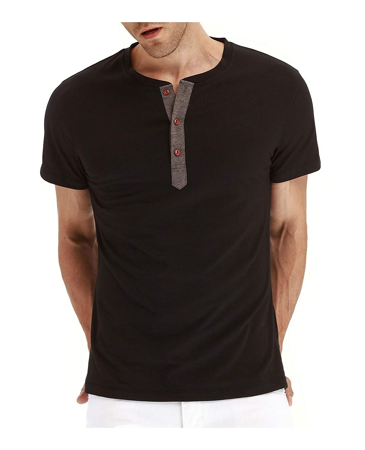 NEPAOD Mens Fashion Casual Front Placket Basic Long//Short Sleeve Henley T-Shirts