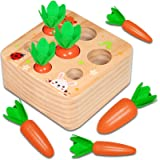 Aitbay Educational Wooden Toys for Toddlers, Carrots Harvest Shape Size Sorting Game, Developmental Montessori Toys for 1 2 3