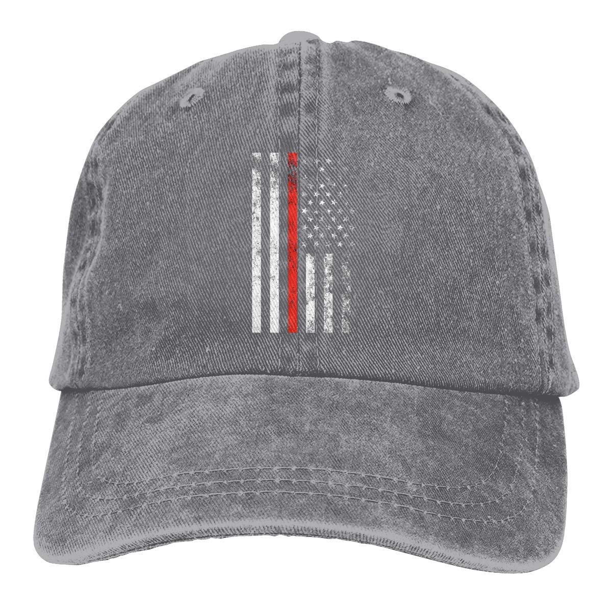 Firefighter Thin Red Line American Flag Fashion Adjustable Cowboy Cap Baseball Cap for Women and Men