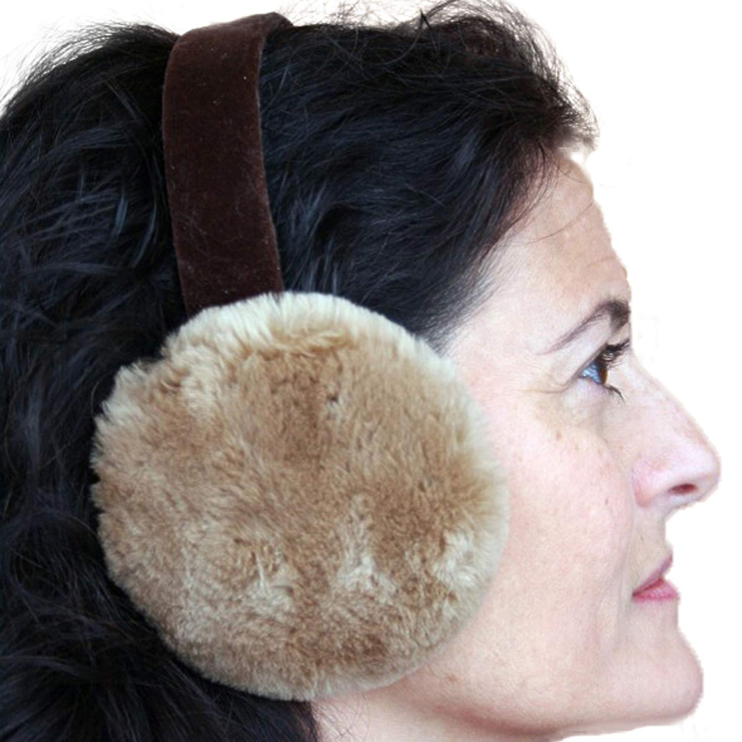 Glacier Wear Tan Dyed Sheared Beaver Real Fur Ear Muffs