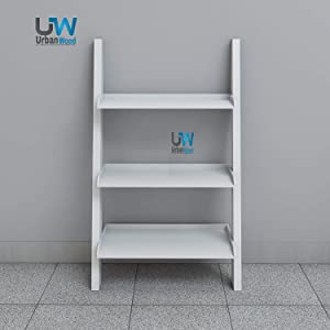 Urbanwood Engineerng Wood 3 Tier Ladder Shelf Bookcases | Room Organiser Storage Book Shelves | White Finish