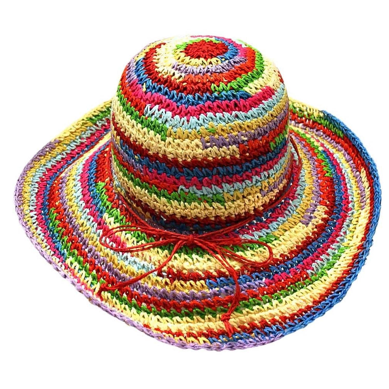 c2f69f4da6 Multicolor Rainbow Floppy Sun Hat at Amazon Women s Clothing store