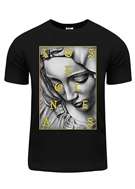 Fitscloth Mens Los Angeles Gold Foil Blessed Virgin Mary Graphic T
