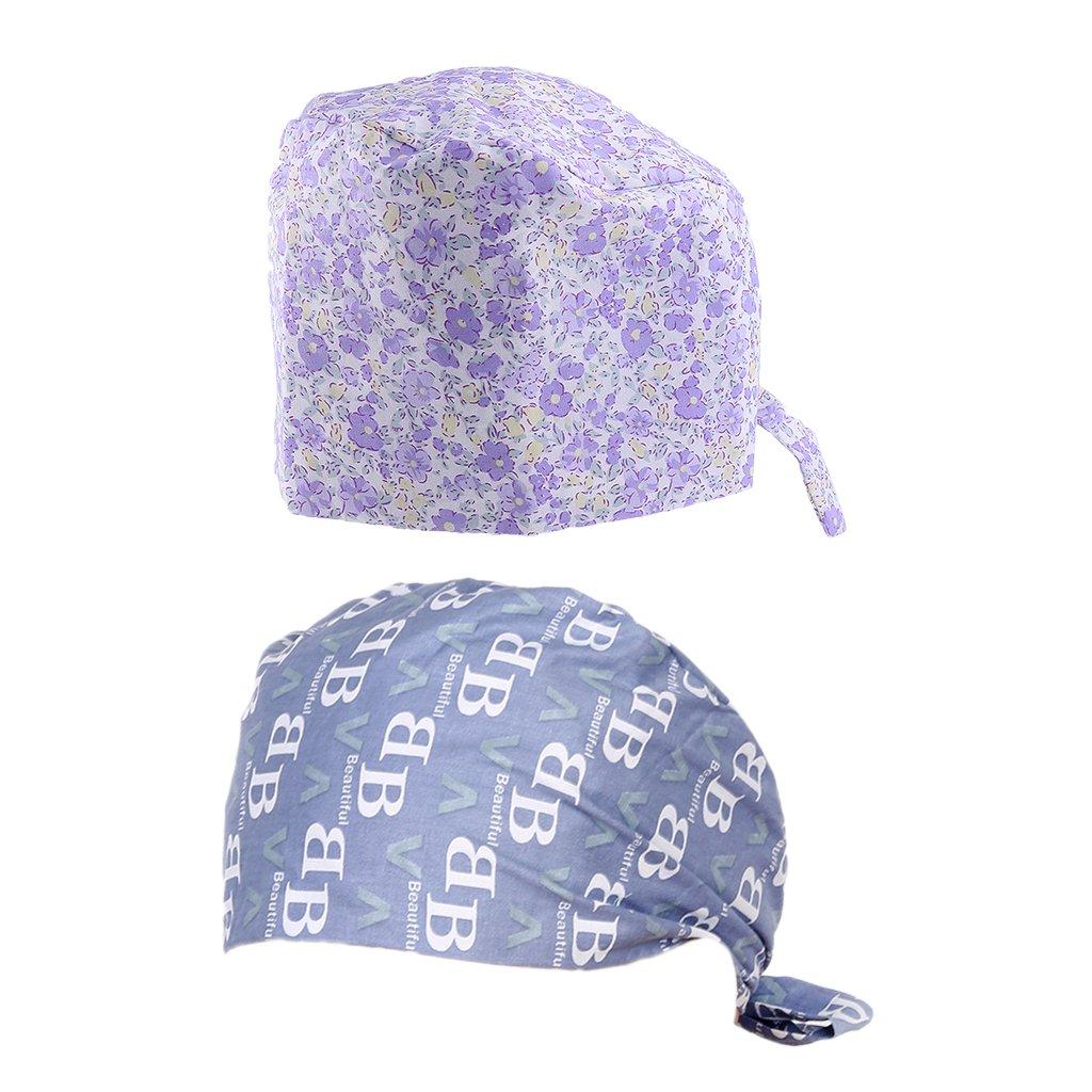 Prettyia 2pcs Donna Uomo Cap Cappello Cappellini da Chirurgico Sanitari per Infermieri Medico