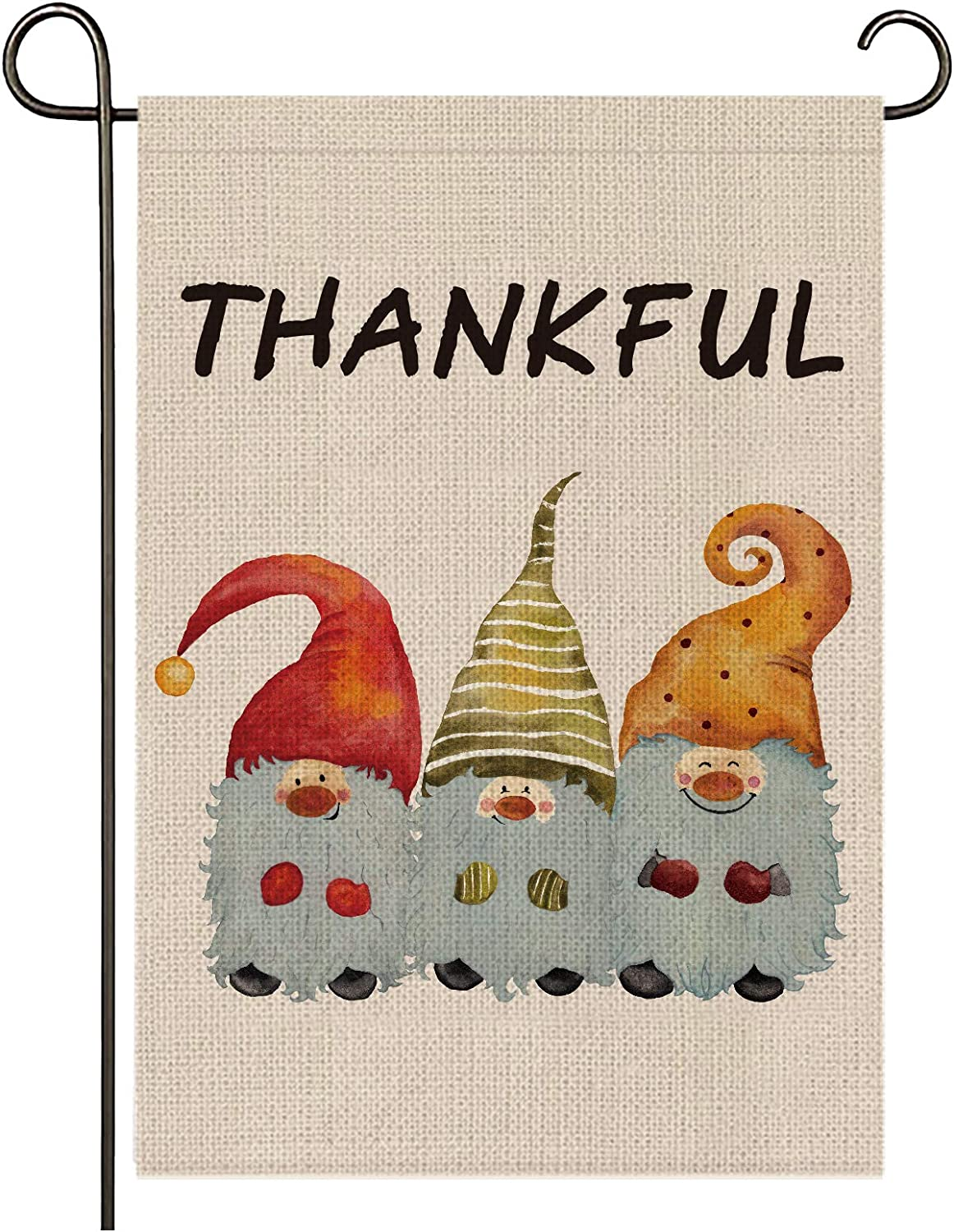 onetoze Thanksgiving Garden Flag,Gnomes Thankful Garden Flag, 12.5X18inches Premium Burlap Weather Proof for Outside Yard Outdoor Decoration
