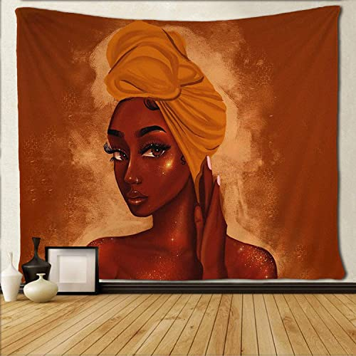 SARA NELL Wall Tapestry Black Art African American Women Girl Afro Black Girl Tapestries Hippie Art Wall Hanging Throw Tablecloth 60X90 Inches for Bedroom Living Room Dorm Room