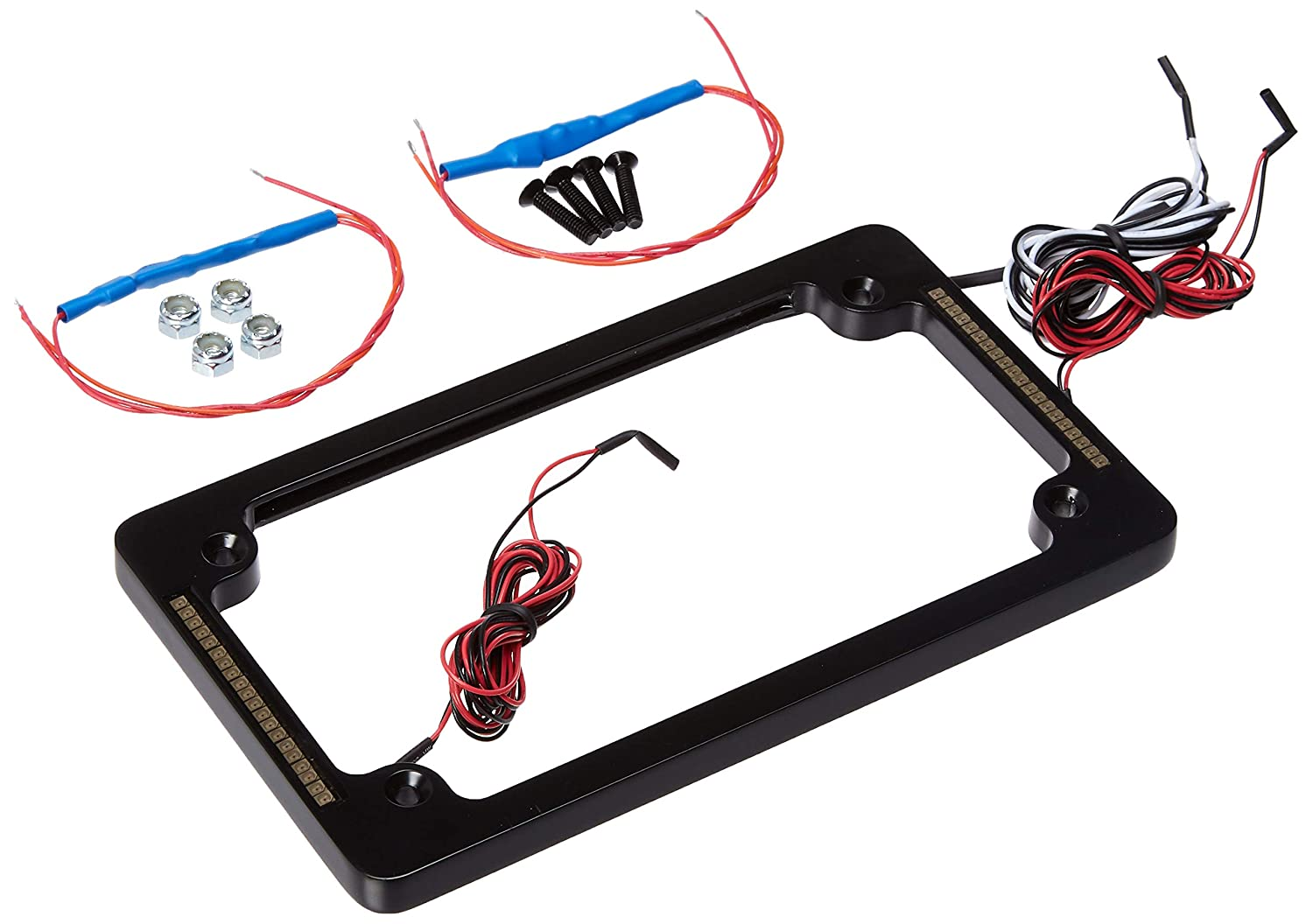 Chrome All-In-One with Integrated Plate Light, Turn-Signals, and Brake Light Custom Dynamics TF04-C License Plate Frame