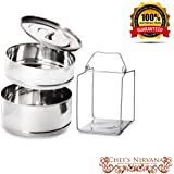 Ultra ORIGINAL LARGEST Stackable 2 Tier Stainless Steel Cooker Separator Steamer Pressure Cooker Insert Pans to make Healthy, Fast and Delicious Meals