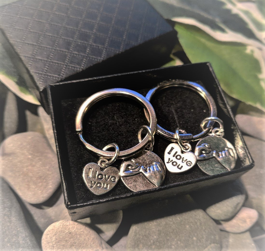 Handmade Pair of Silver Pinky Promise & I Love You Keyrings / Handbag Charms. Supplied in Gift Box with Free Pinky Promise Poem.