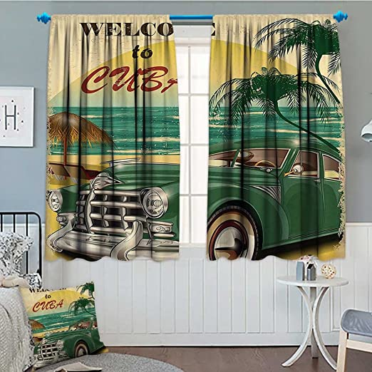 1950s Decor Blackout Curtains Vintage Car Metal Signs Automobile Advertising Repair Vehicle Garage Servicing Image Window Curtains Drapery for Living Room 52 x 63