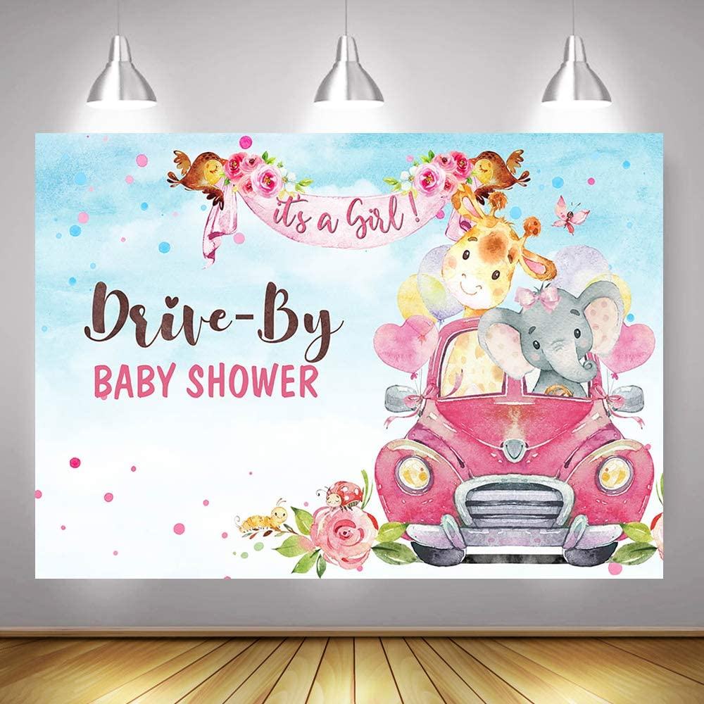 GIRL Masked Animals Baby Shower Banner Drive By Baby Shower Banner Baby Shower Banner It/'s A Girl Yard Sign Girl Shower Banner