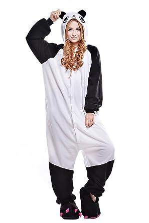 5fbce6088a Amazon.com  NEWCOSPLAY Adult Unisex Panda Onesie Pajama Costume  Clothing