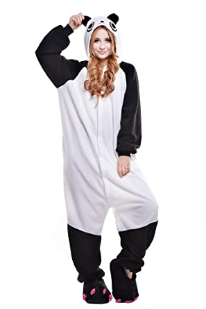 4c5f05b509 Amazon.com  NEWCOSPLAY Adult Unisex Panda Onesie Pajama Costume  Clothing