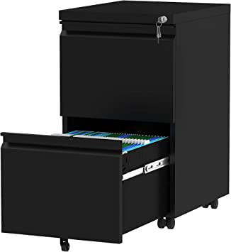 ZOEON Mobile Filing Cabinet for A4 File 2 Drawers Steel with Lock and Handles Matte Lockable Anti-tilt Design Rolling under desk drawers for Home Office Black